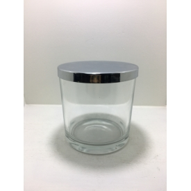China 500ml glass candle holders with gold lid factory