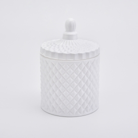 China 6oz palace style spray white glass candle jars home decorations candle holder with lid factory