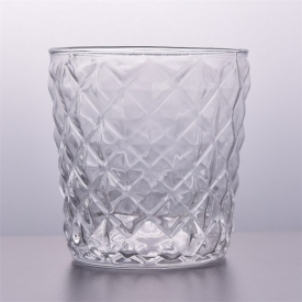 China 7.5oz glass candle holders supplier with diamond pattern factory