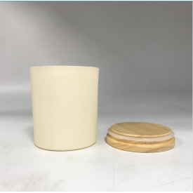 China frosting glass candle jars with pine wood lid factory