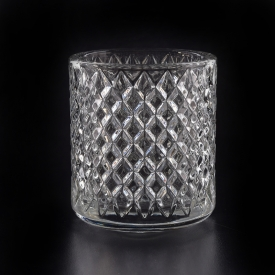 China 8oz Hot sale faceted crystal clear glass candle jars wholesale-Fabrik
