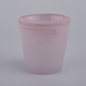 China 8oz milky pink glass candle jars factory