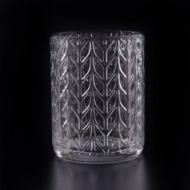 China 8oz wax filling cylinder glass candle holders with tree design factory