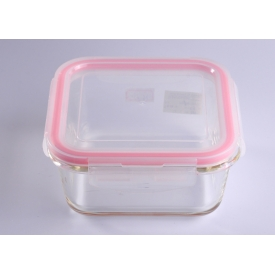 China Air-tight Food Square Cover Glass Cookware with Plastic Pink Lid factory