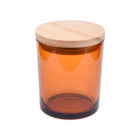 Chiny Amber Glass Candle Jar With Lids fabrycznie