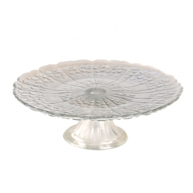 China Beatiful pearl glass plate with base factory