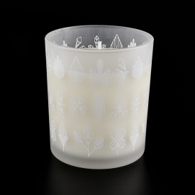 China Beautiful Home Decorative Frosted White Glass Candle Jar factory