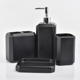 China Black ceramic bathroom set toothbrush holder tumbler soap dish soap dispenser pump factory