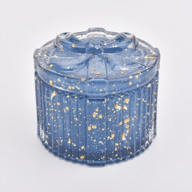 China Blue Color Candle Jars Glass With Lids Wholesale factory