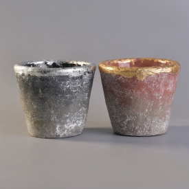 China Candle holder cement with gold foil factory