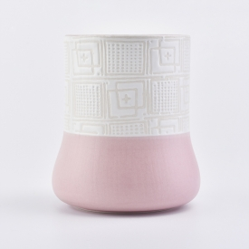 China Ceramic Candle Holder Solid Pink Bottom Textured Top factory