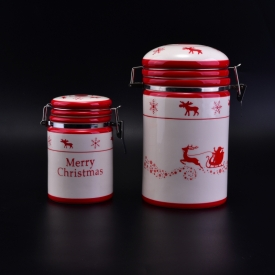 China Ceramic Storage Jar with Clip for Christmas factory