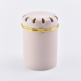 China Ceramic candle jar with decorative lid factory