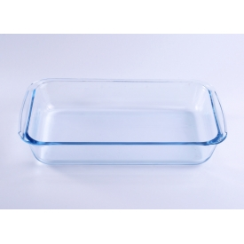 China Clear blue rectangle pyrex glass charger plate factory
