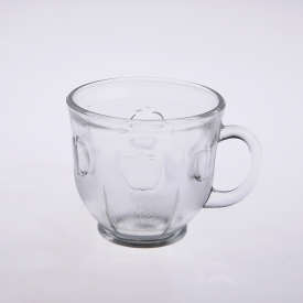 China Clear round apple beer glass mug cup with handle factory