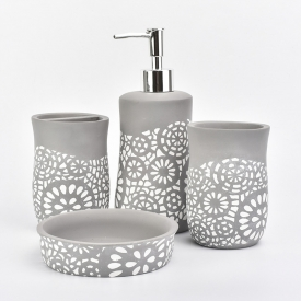 China Concrete bathroom set gray color with white flower pattern factory