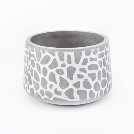 China Concrete candle holder with pattern 10oz popular home decoration factory