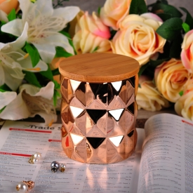 China Copper ceramic candles holder with wooden lid factory