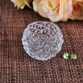 China Crystal diamond pattern glass tealight holder factory