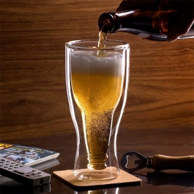 China Custom Upside Down Double Wall Beer Glass Mug Wholesale factory