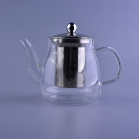 China Customized pyrex glass teapot with stainless steel infuser factory