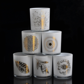 Cylinder White Glass Candle Jars With Gold Decoration
