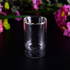China Cylinder round clear borosilicate double wall glass cup factory