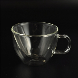 China Double Wall Drinking Glassware Borosilicate Glass Mugs With Handle factory