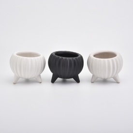 China Embossed Black Candle Ceramic holder Wholesale factory