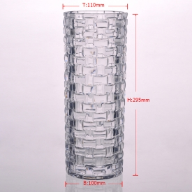 China Embossed Cylinder Glass Vase Wholesaler from China factory