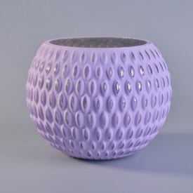 China Embossed pattern ball shape purple glass candles vase factory