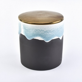 China Flowing sand effect ceramic candle holder with lid factory