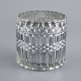 China Geo Cut  Embossed Glass Candle Container With Lid factory