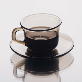 China Glass coffee cup with saucer factory