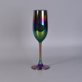 China Gorgeous plating iridescent glass goblet factory