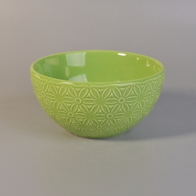 China Green color embossed ceramic bowl for home decoration factory