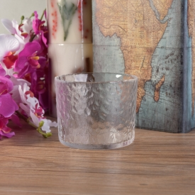China Hammered transparent cylinder glass container for candles factory