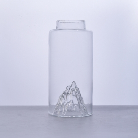 China Hand made glass jar with peak design factory