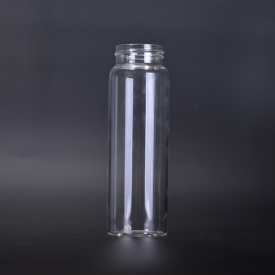 China Heat resistant super clear cyclinder glass drinking bottles wholesale factory