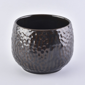 China High quality embossed Amber ceramic candle holder factory