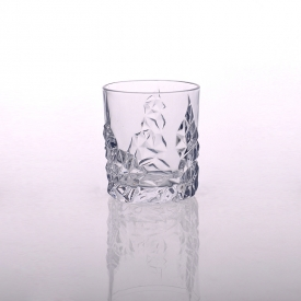 China Hight quality embossed pattern whiskey glass drinking glass factory