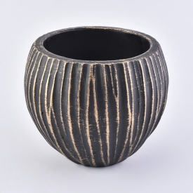 China Hollow Coconut Ceramic Candle jar Black Stripe candle holder factory