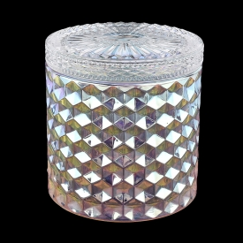 China Hot Sale Iridescent glass candle jar with lids diamond glass jars factory