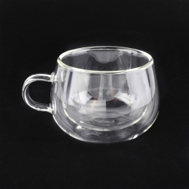 China Household high borosilicate  small double wall glass tea cups factory