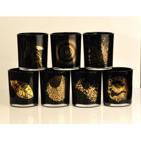 China In stock wholesale glass cups custom printed candle jars black factory