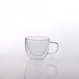 China Insulated dishwasher safe borosilicate double wall glass mug factory