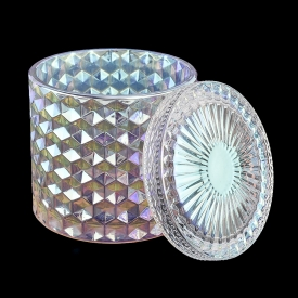 Chiny Iridescent glass candle jar with lids wholesale fabrycznie