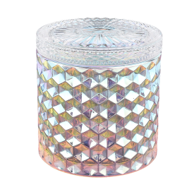 China Iridescent glass candle jar with lids wholesale factory