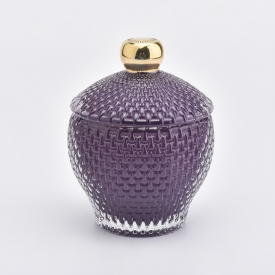 China Irregular Shape Glass Candle Holder with Lid Embosed Purple factory