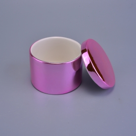 China Custom Luxury Rose Gold Ceramic Candle Holder With Lids factory